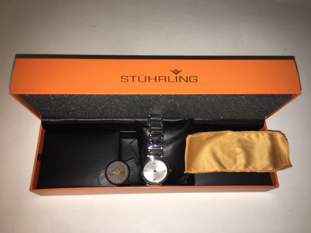 Stuhrling Original Ladies Diamond Watch: Silver Tone Dial
