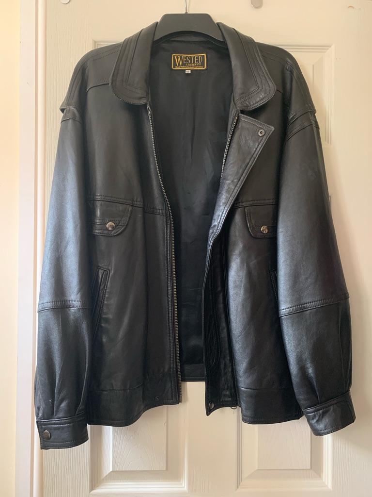 Wested leather jacket.