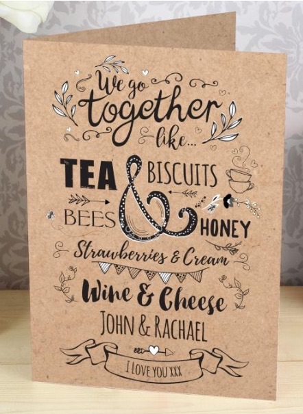Personalised 'we go together' greeting card