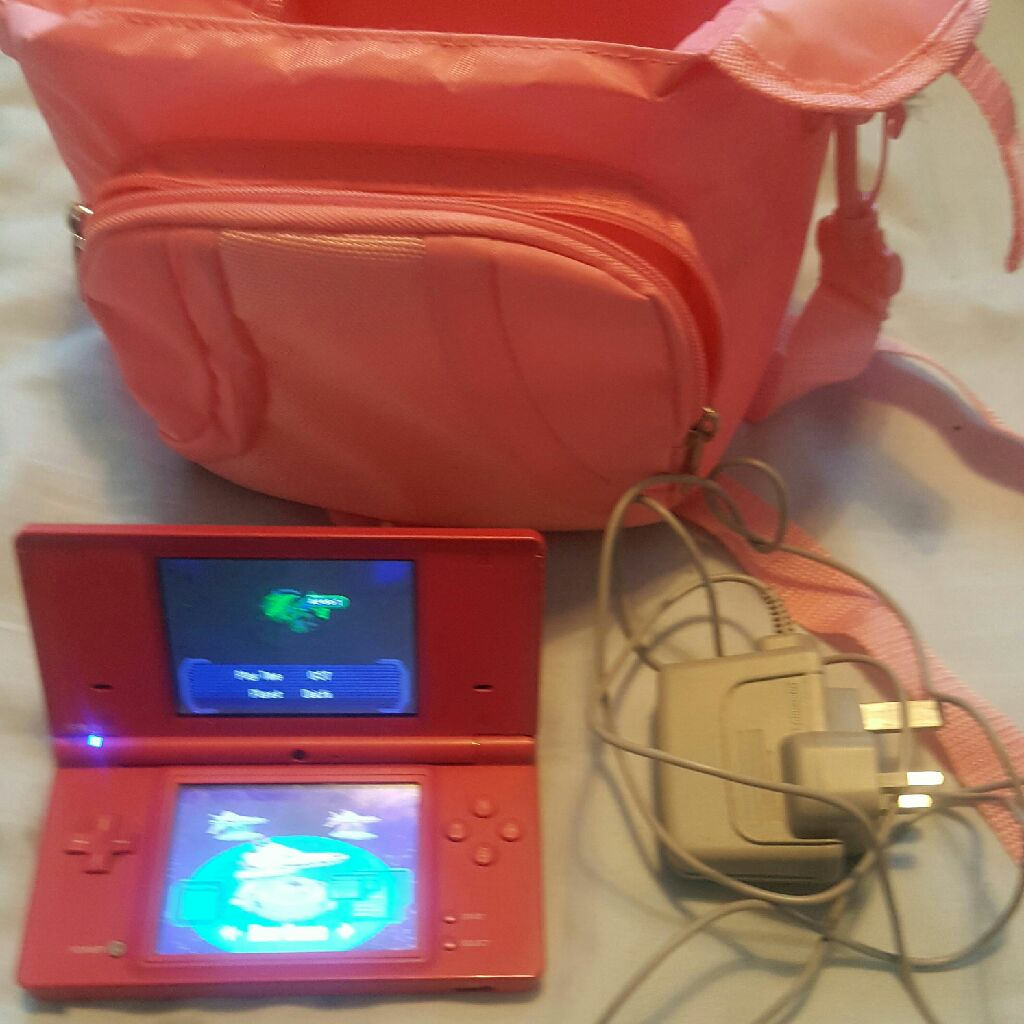 DSI console  ( one with built in camera) Comes with charger and games and a big bag/ cash or swaps