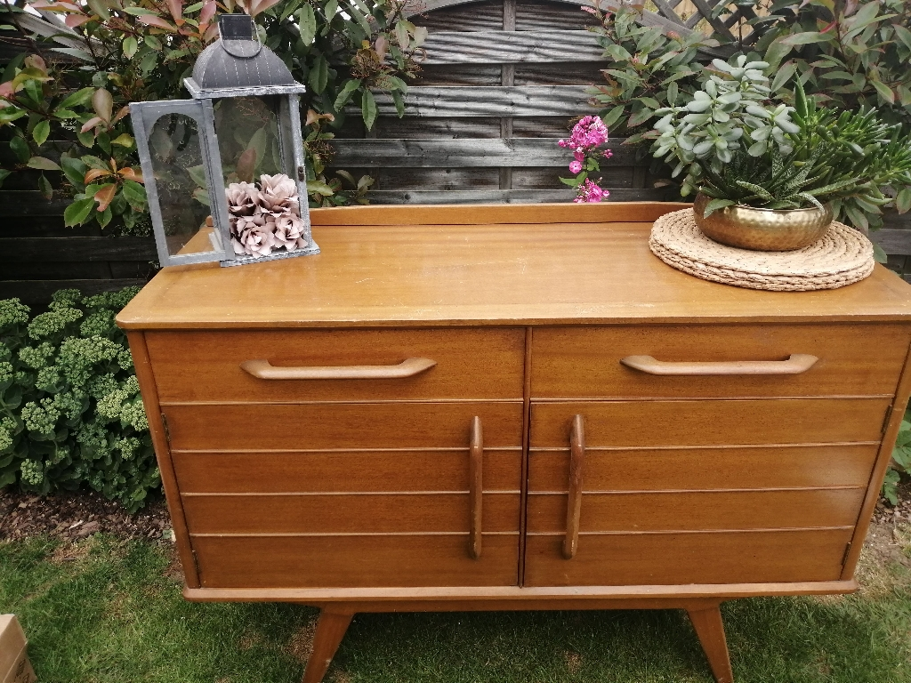 Retro vintage side table chest of draws cupboards