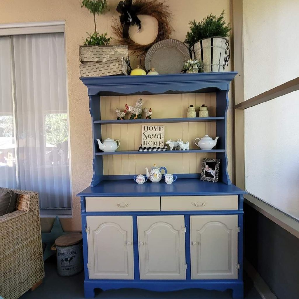 FARMHOUSE HUTCH & BUFFET SOILD MAPLE WOOD WITH WHITE AND BLUE FINISH