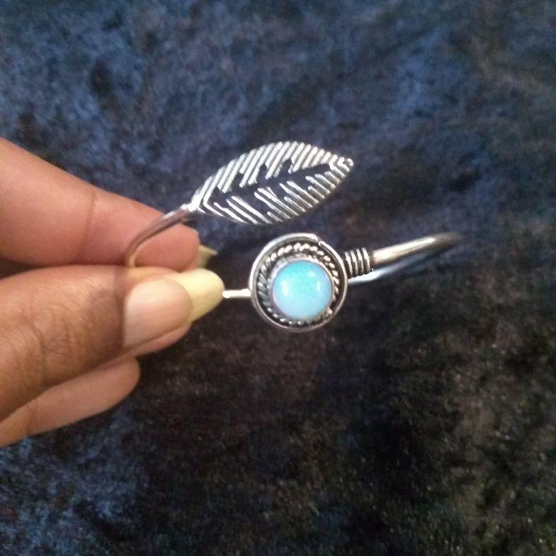 Moon Stone Feather Bangle
