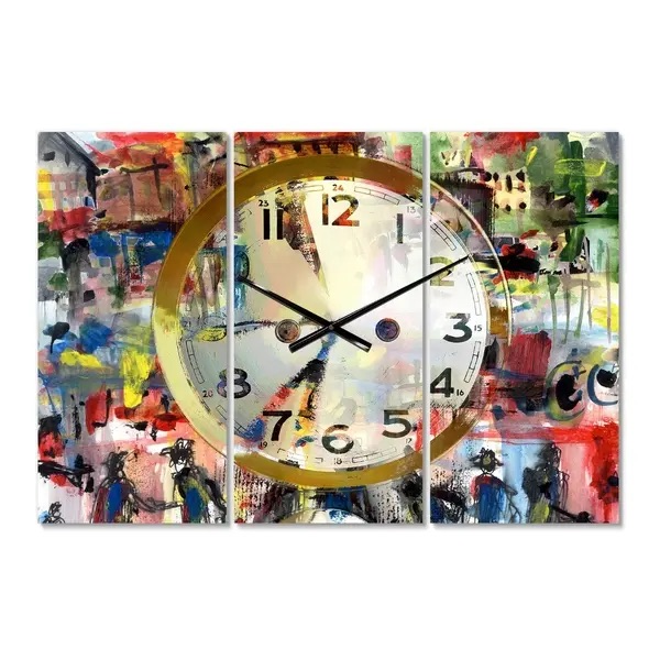 Modern 3 Panels Oversized Wall Clock - 36 in. wide x 28 in. high - 3 panels