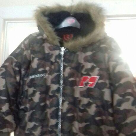 Mens Camouflage Hooded Jacket Size XXL