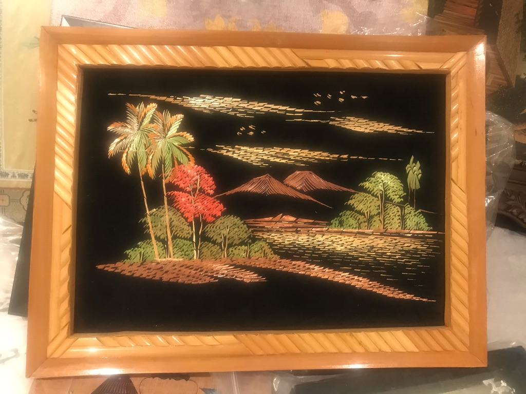 Handmade Island Embroidered art wall decor