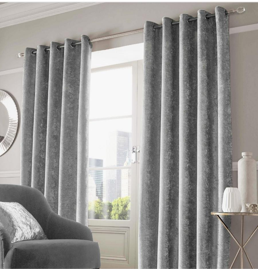 Sienna Home Crushed Eyelet Velvet Curtains - Silver, Charcoal Grey or Gold