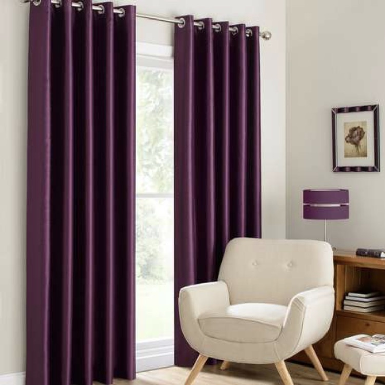 Dunelm Montana faux silk eyelet curtains plum
