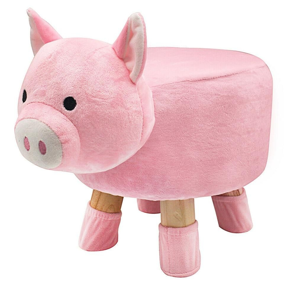 PLUSH ANIMAL POUFFE KIDS WOODEN FOOTSTOOL CUSHION SEAT FOOT STOOL ROUND CHAIR  £37.50