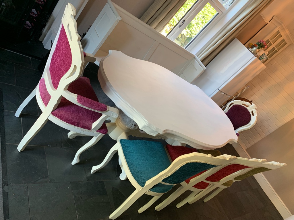 8 seater French Louise style white dining table and chairs and church pew - shabby chic modern twist