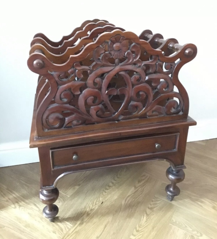 Antique Victorian Rosewood Canterbury Magazine / Music Sheet Rack With Drawer.