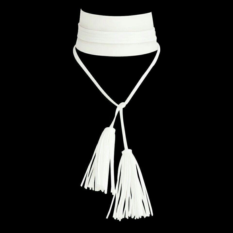 White Faux Leather Wrap Choker w/Tassels