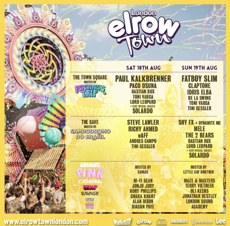 3x tickets to Elrow music festival town sat 18 August