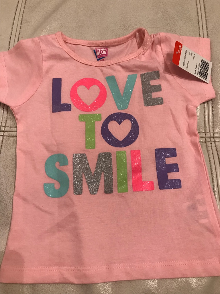12-18 months Brand new pink tshirt with glitter