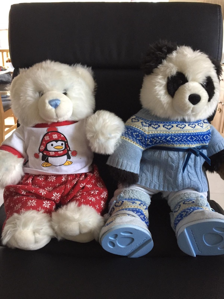 2 build a bears with outfits