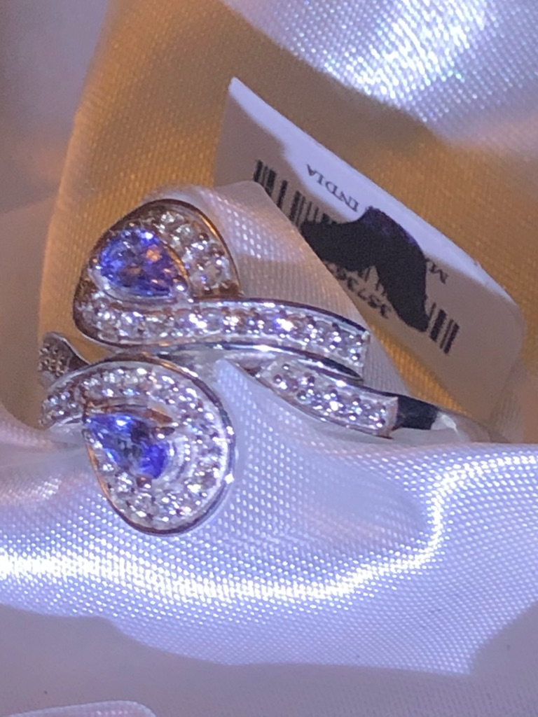 Womans Tanzanite Pear Natural Cambodian Zircon Ring Size V Platinum Overlay Sterling Silver 925 1.24 Ct.  HAVE SIZE K L R S T V LEFT