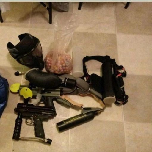 Paintball guns in co2 tank in equipment