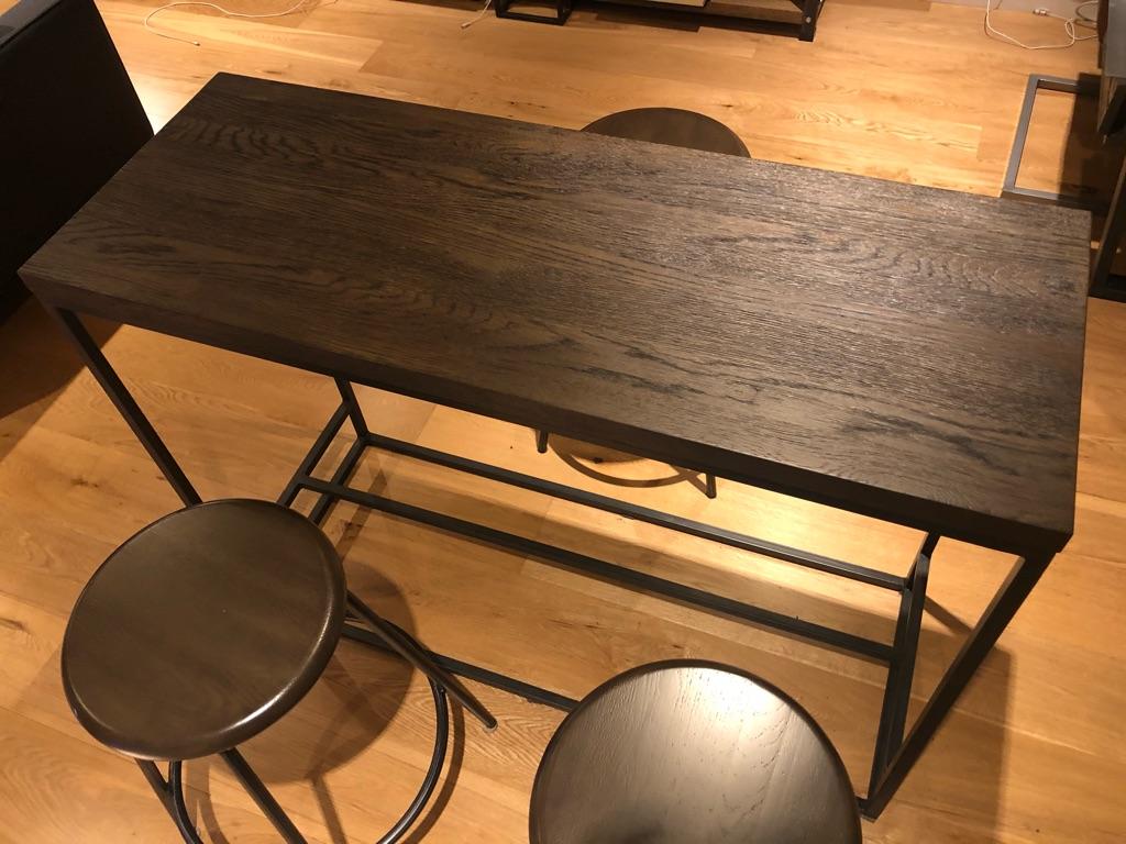 John Lewis & Partners Calia Console Table, Dark + 3 Calia Bar Stools