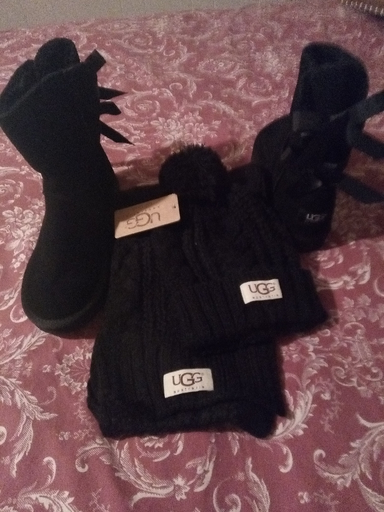 UGG boots and scarf set