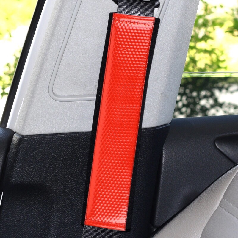 2X Seat Belt Pads Gift Reflective Red Reflection Fluorescent Night Vision Tuning Sport Subaru