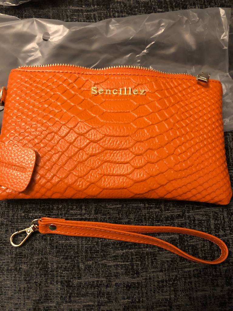 Real leather R F I D purse bears peacock orange new