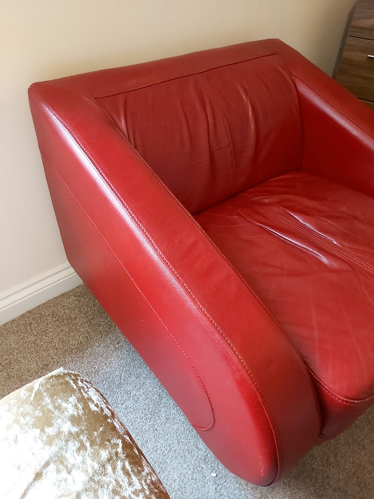 Red Leather Swivel chair..was £750 when bought