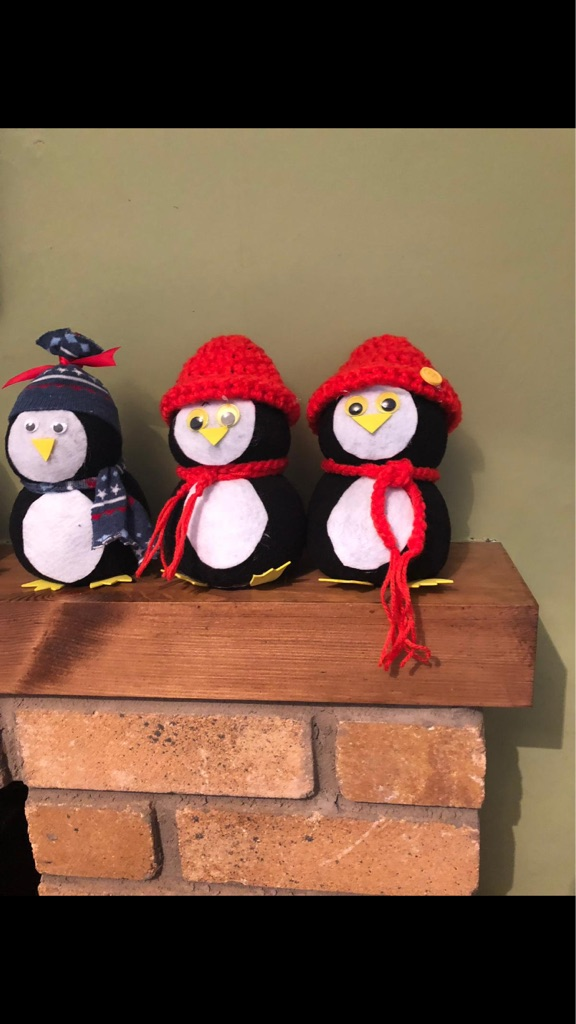 Ornamental snowman and penguins