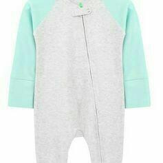 Babygrow romper bodysuit - Grey & Aqua