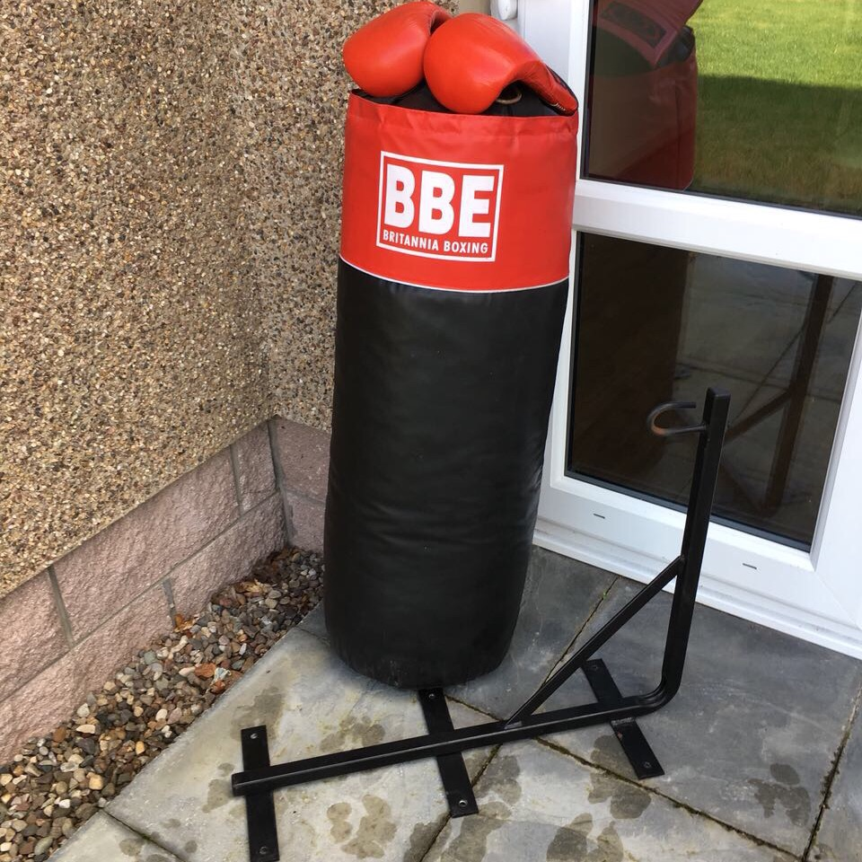 Punchbag with mitts and hook