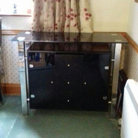 Black glass drinks cabinet /sideboard