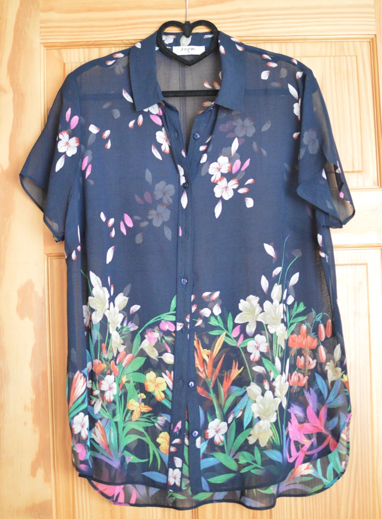 Size 16 navy shirt with colourful flower design