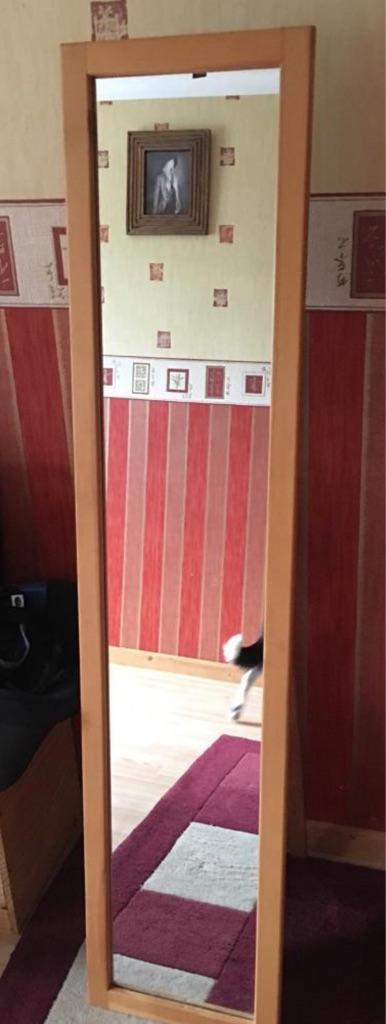 Full length free standing pine mirror