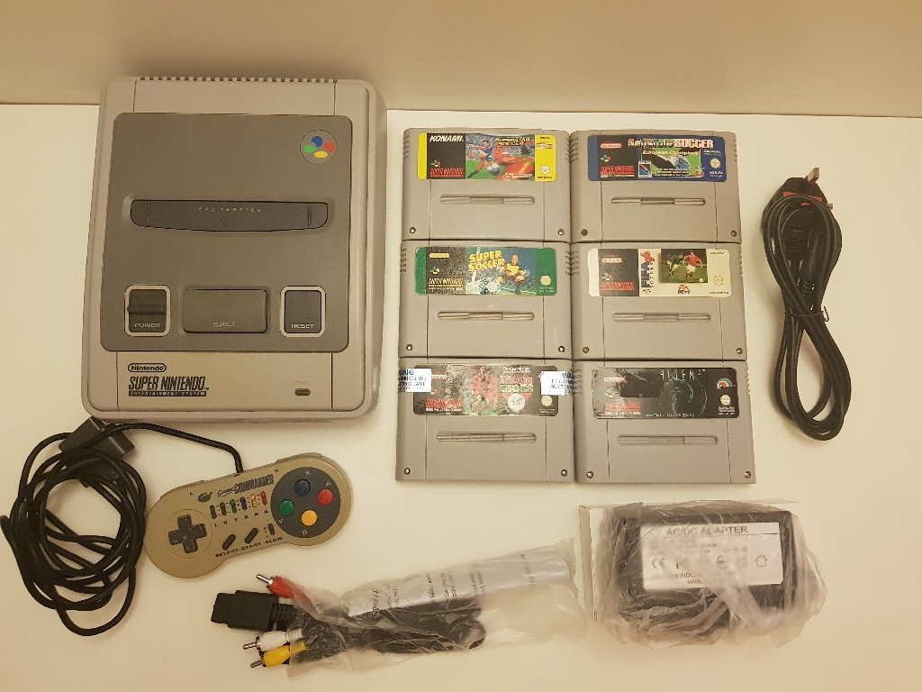 Original super nintendo 6 games 1 controller