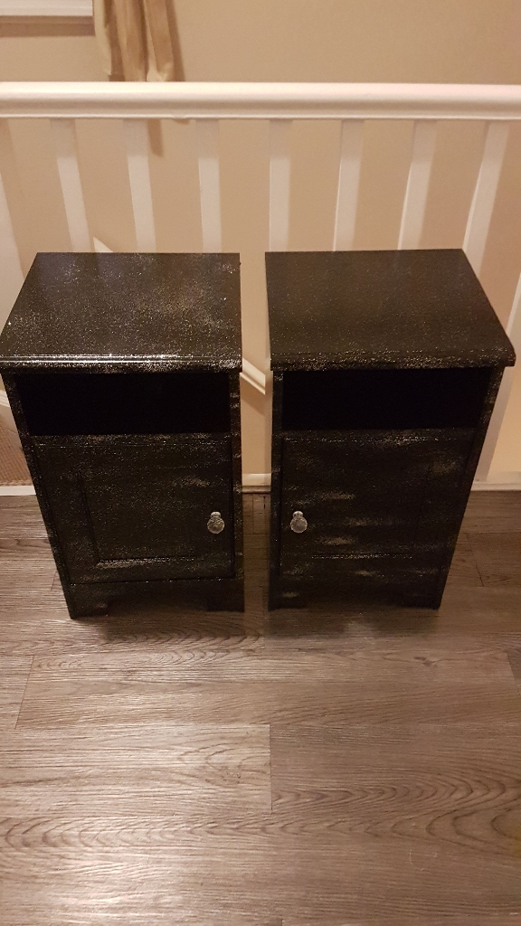 black and silver glitter bedside cabinets