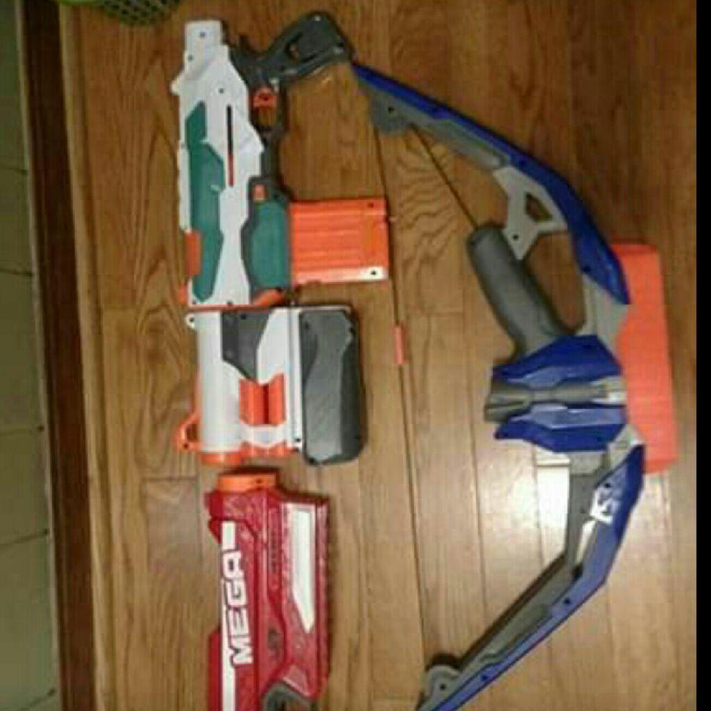 3 nerf guns with ammo