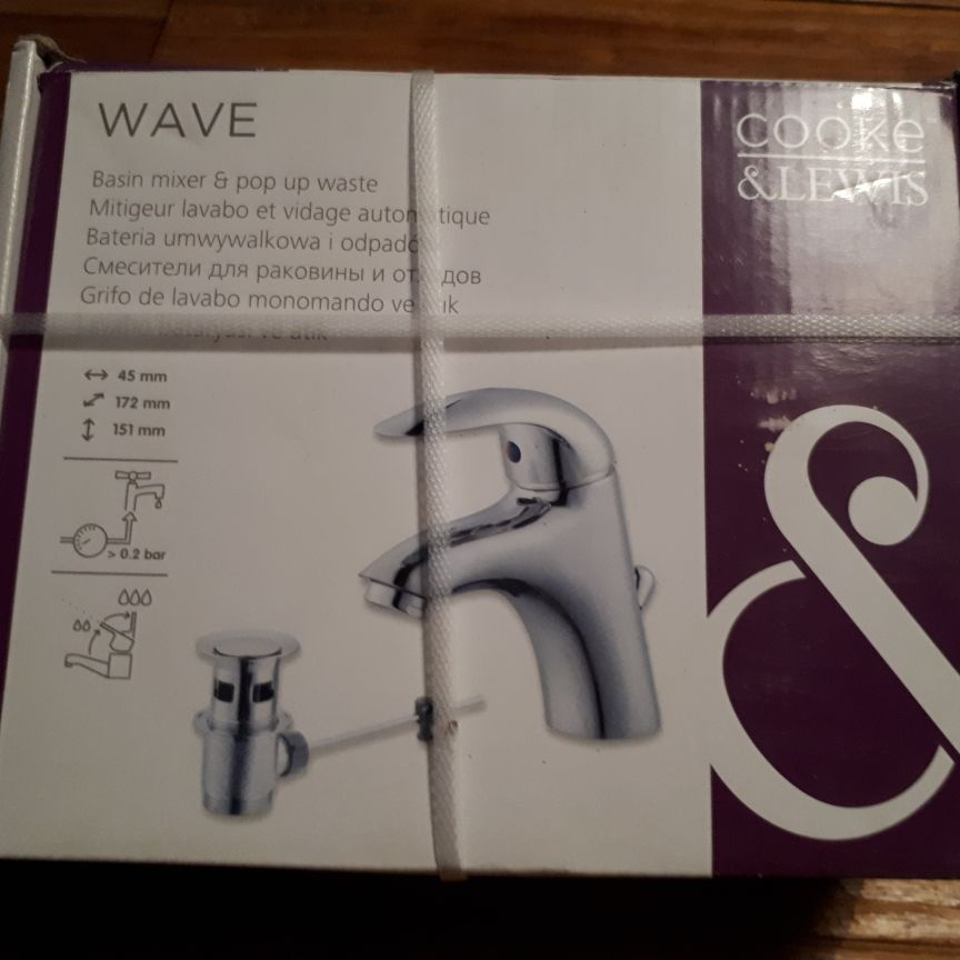 """Cook & Lewis """"Wave"""" style basin mixer tap with pop-up waste in chrome"""