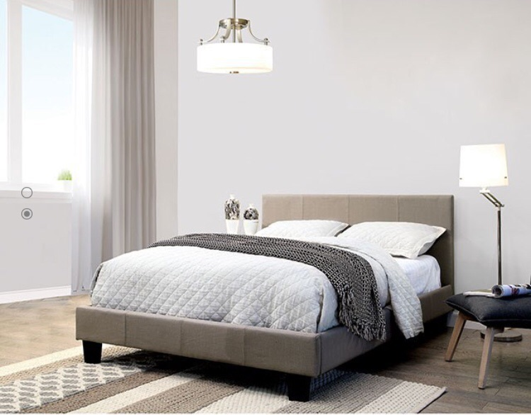 Light gray fabric Platform bed Full