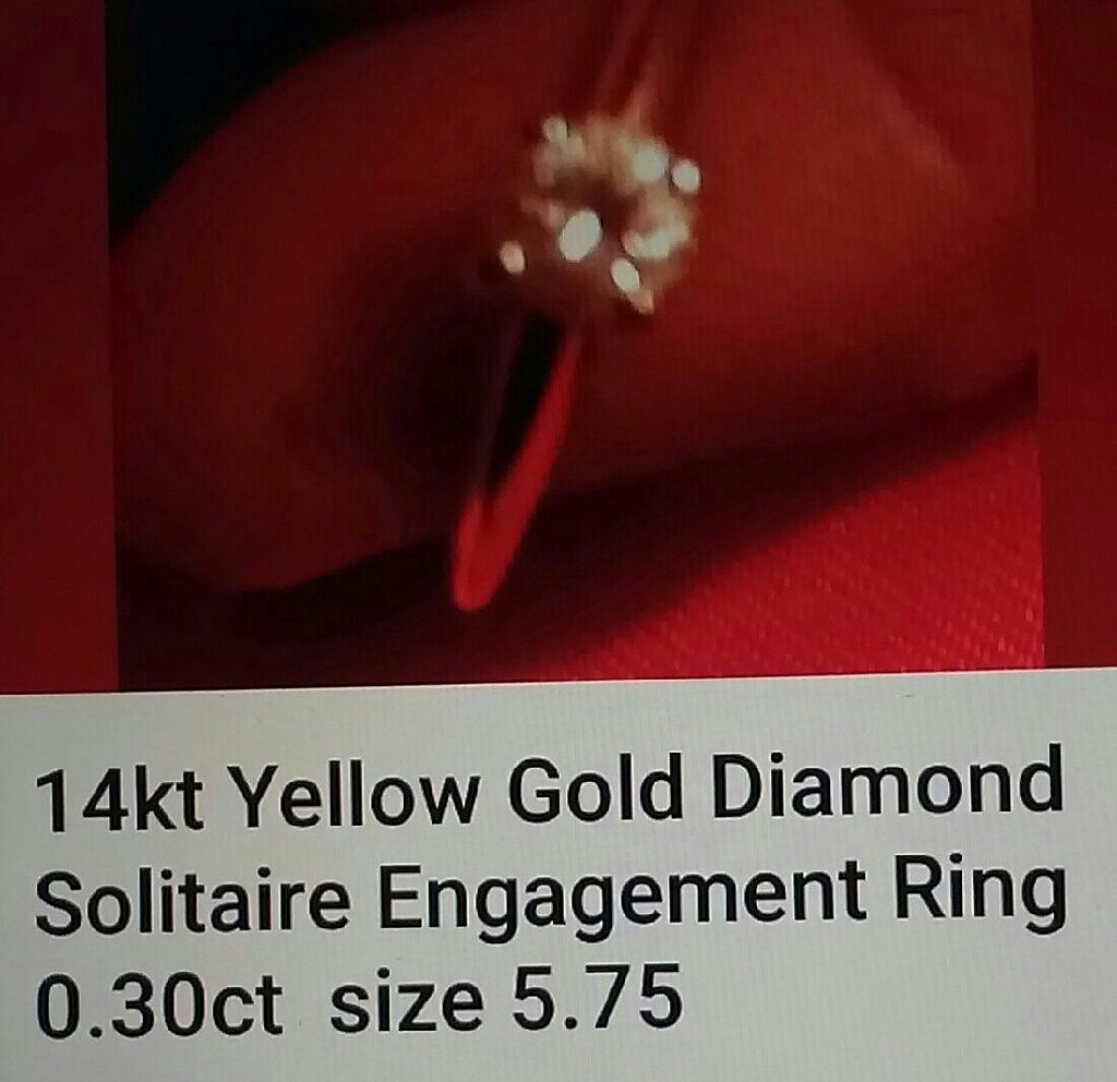 14kt diamond solitaire ring size 5.75
