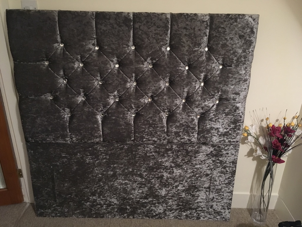 Grey Velvet Double Headboard