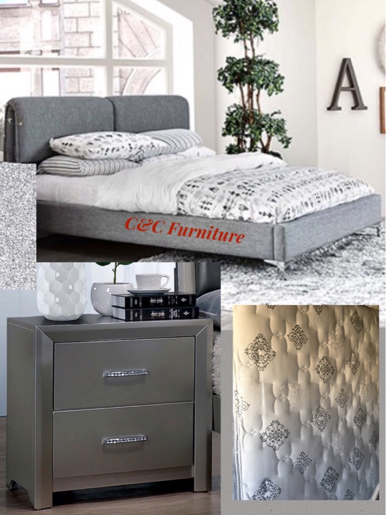 New Queen size bed with mattress & night stand