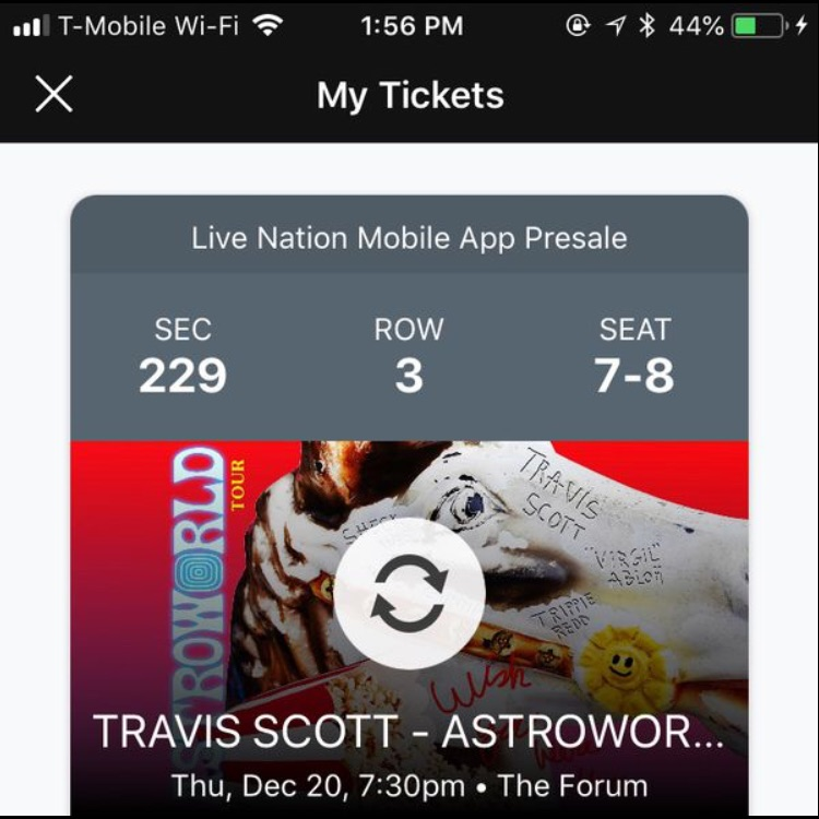 Travis Scott Concert 2 Tickets For 250$