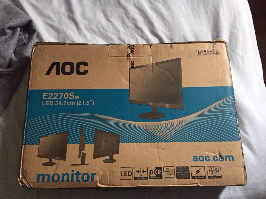 AOC 21.5 inch LED Monitor HDMI, VGA, Vesa E2270SWHN , Black , E2270SWHN
