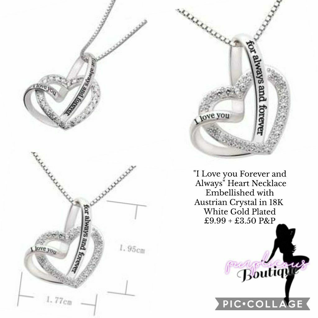 """""""I Love you Forever and Always"""" Heart Necklace Embellished with Austrian Crystal in 18K White Gold Plated📿"""