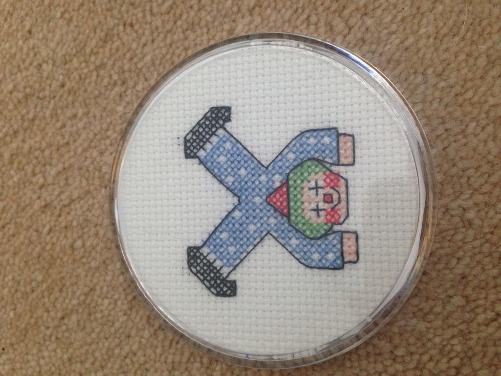 Clown cross stitch coaster