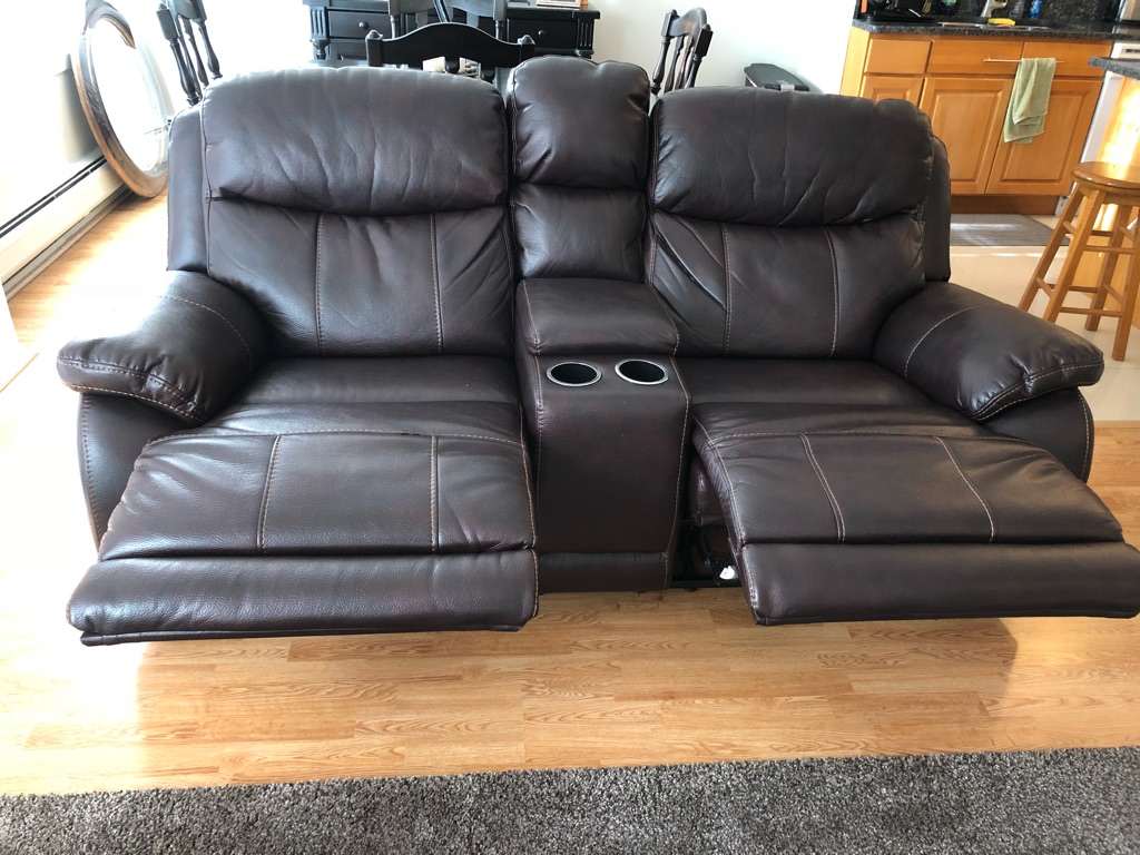 Leather Dark Brown Loveseat Recliner