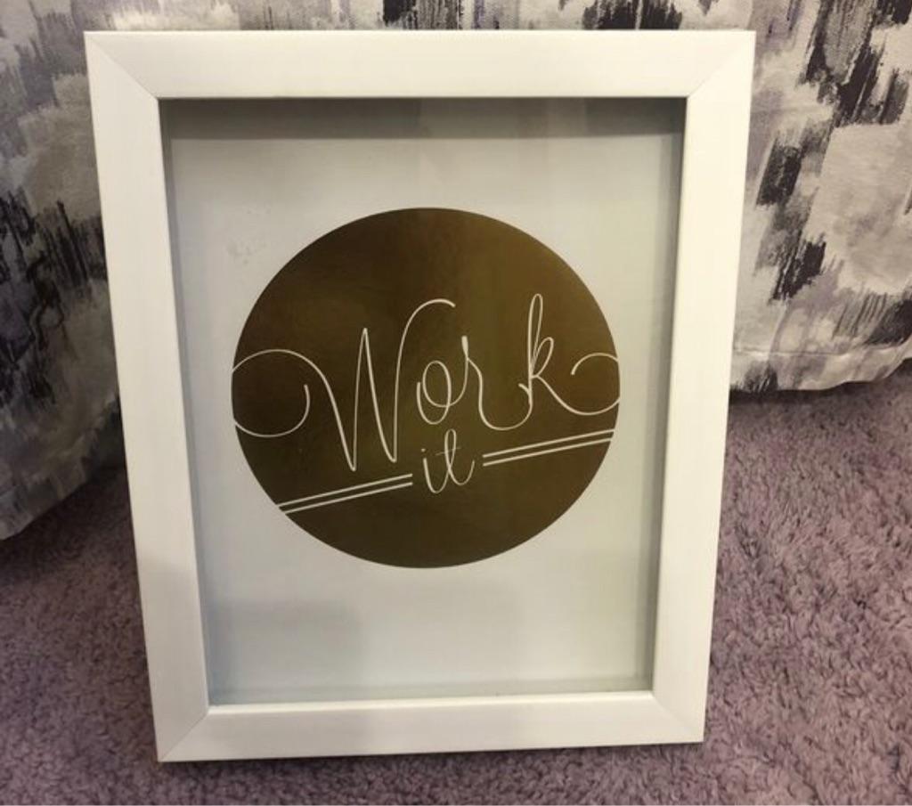 """Work It"" Inspirational Gold & White Wall Art"