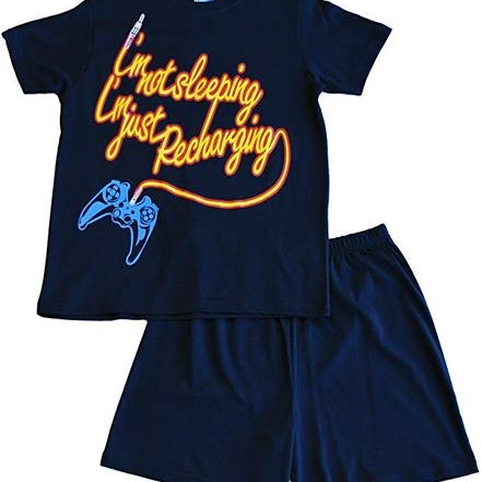 Boys I'm not sleeping I'm just recharging short pyjamas- blue