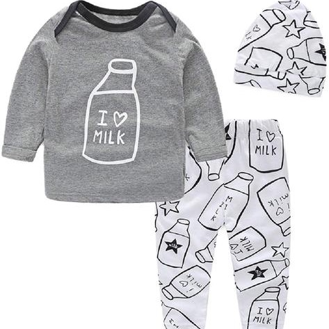 Newborn baby boy clothes, trouser & tops outfits clothes sets, toddler boy's I love milk