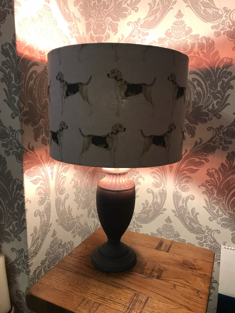 Handmade Voyage linen hounds lampshade and base