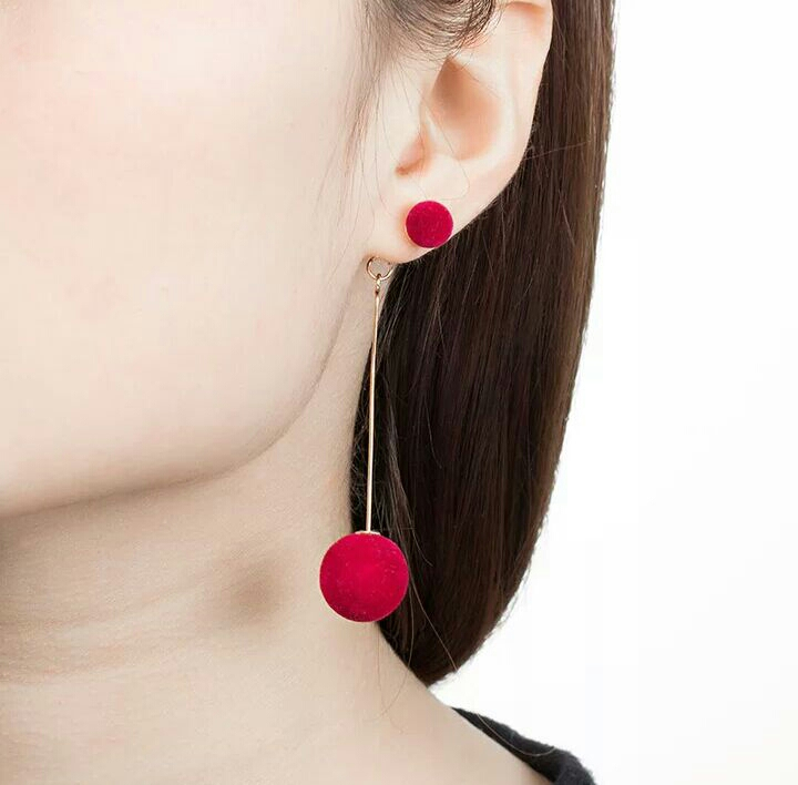 Vintage Red and Black plush Ball drop earrings fashionable for women
